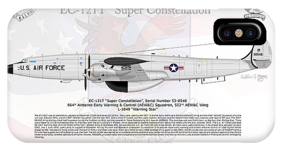 Lockheed IPhone X Case featuring the digital art Lockheed Ec-121t Super Constellation by Arthur Eggers