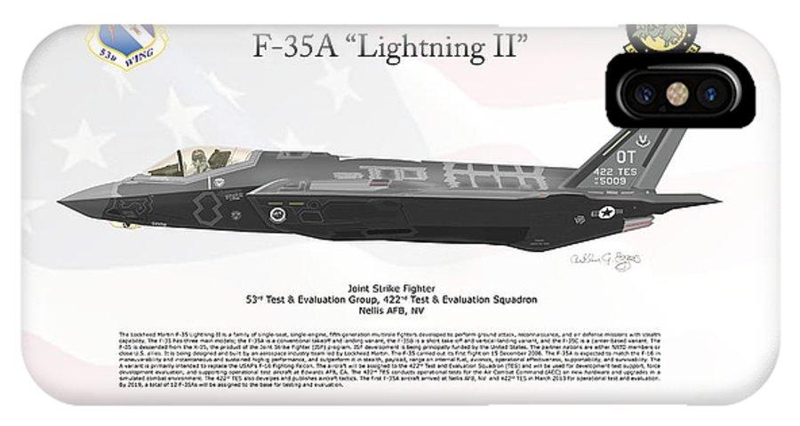 Lockheed Martin IPhone X Case featuring the digital art Lockheed Martin F-35a Lightningii by Arthur Eggers