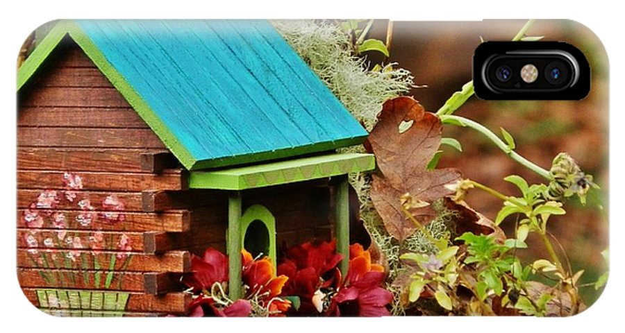 Birdhouse IPhone X Case featuring the painting Log Cabin Birdhouse In Fall by VLee Watson