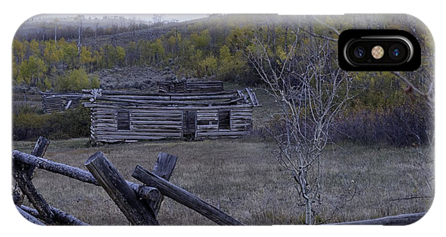 Log Cabin IPhone X Case featuring the photograph Log Cabin by Carolyn Fox