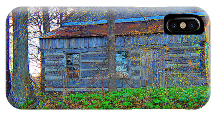 Landscape IPhone X Case featuring the photograph Log Cabin Revisited Spring 2014 by Tina M Wenger