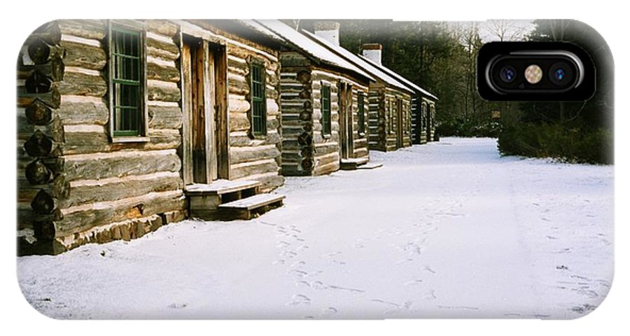 Cabin IPhone X Case featuring the photograph Log Cabins In Fort Wilkins by Julie Ketchman