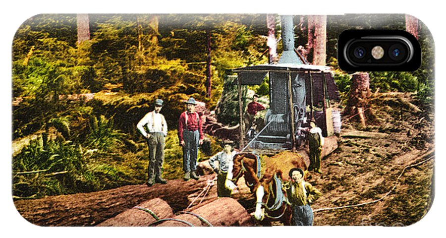 Logging IPhone X / XS Case featuring the photograph Logging With Steam Donkey Engine Near Olympia Washington Circa 1900 by California Views Mr Pat Hathaway Archives