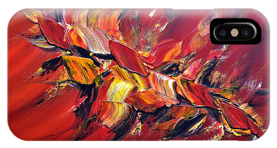Abstract IPhone X Case featuring the painting L'oiseau De Feu by Thierry Vobmann