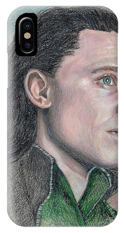 Loki IPhone X Case featuring the drawing Loki From The Avengers by Christine Jepsen