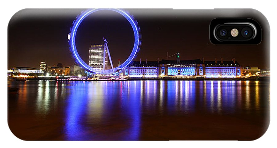 London Eye IPhone X Case featuring the photograph London Eye Reflections by Graham Custance