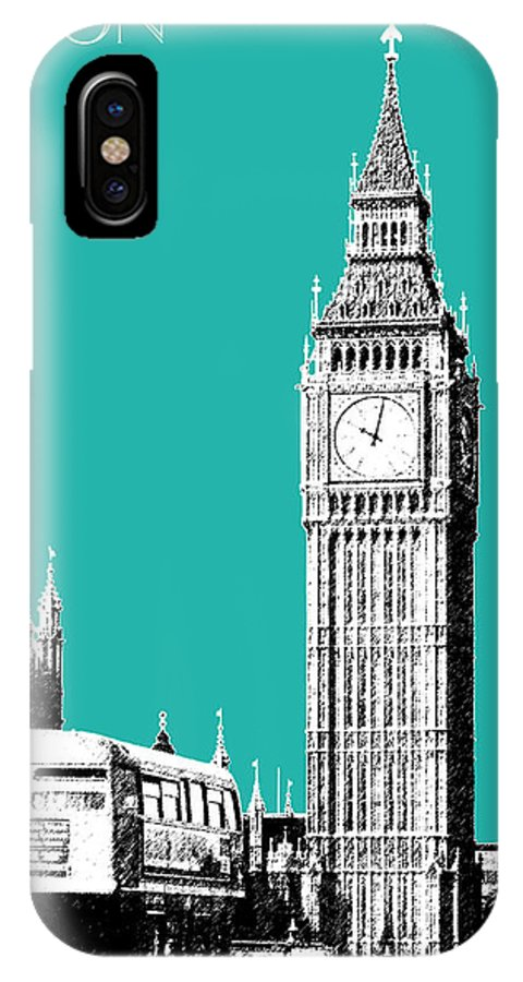 Architecture IPhone X Case featuring the digital art London Skyline Big Ben - Teal by DB Artist