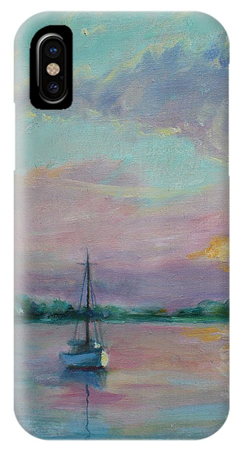 Painting IPhone X Case featuring the painting Lone Boat At Sunset by Sarah Parks