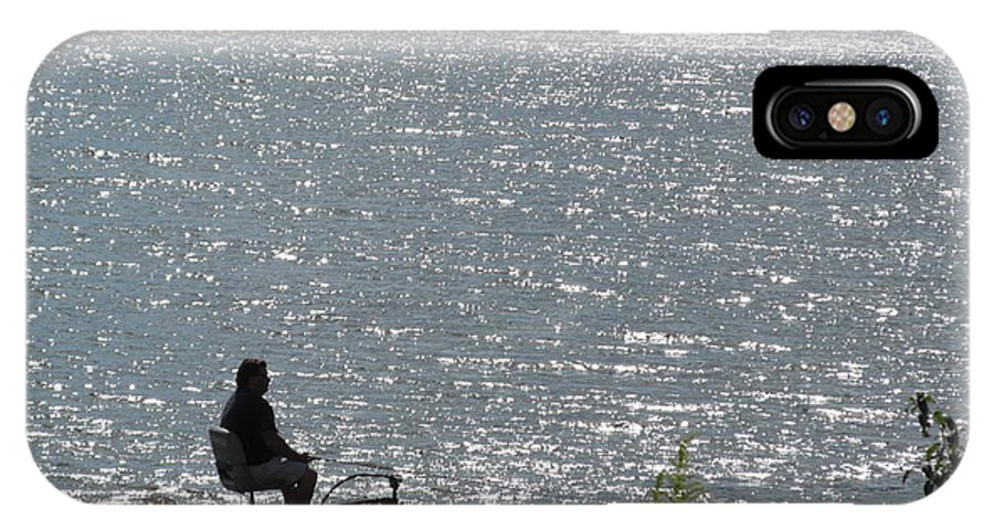 Fisherman IPhone X Case featuring the photograph Lone Fisherman by Tina M Wenger
