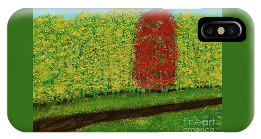Landscape IPhone X Case featuring the painting Lone Maple Among The Ashes by Hillary Binder-Klein