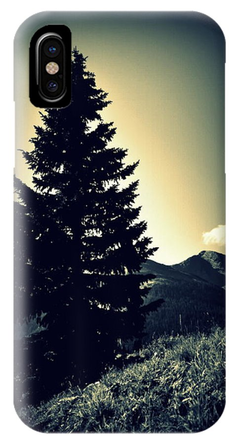 Black And White IPhone X Case featuring the photograph Lone Mountain Pine by Holly Storz
