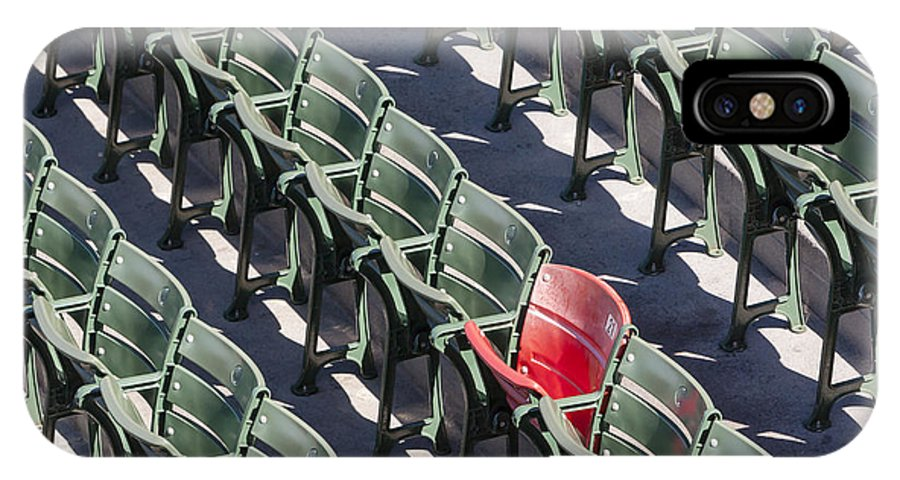 #21 IPhone X Case featuring the photograph Lone Red Number 21 Fenway Park by Susan Candelario