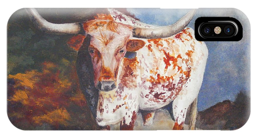 Longhorn Art IPhone X / XS Case featuring the painting Lone Star Longhorn by Karen Kennedy Chatham