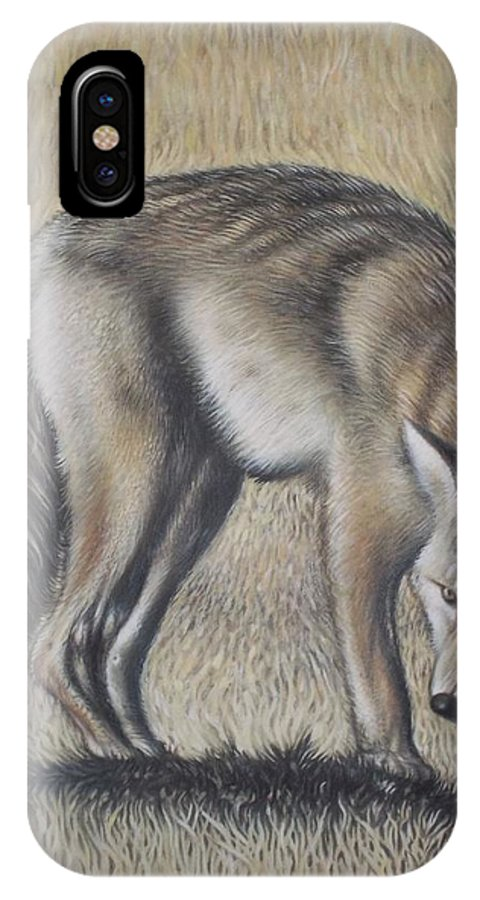 Wolf Dark Side Landscape Hungry Animal Monochromatic Plains Disturbed Alone Survival IPhone X Case featuring the painting Lone Wolf by Michael Briere