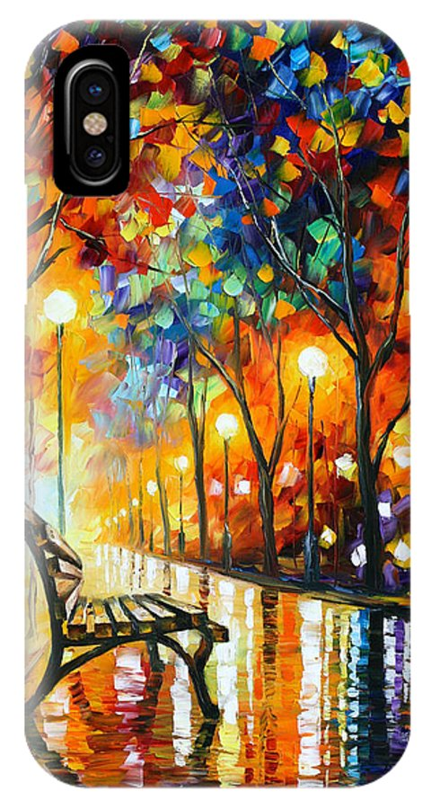 Loneliness IPhone X Case featuring the painting Loneliness Of Autumn by Leonid Afremov