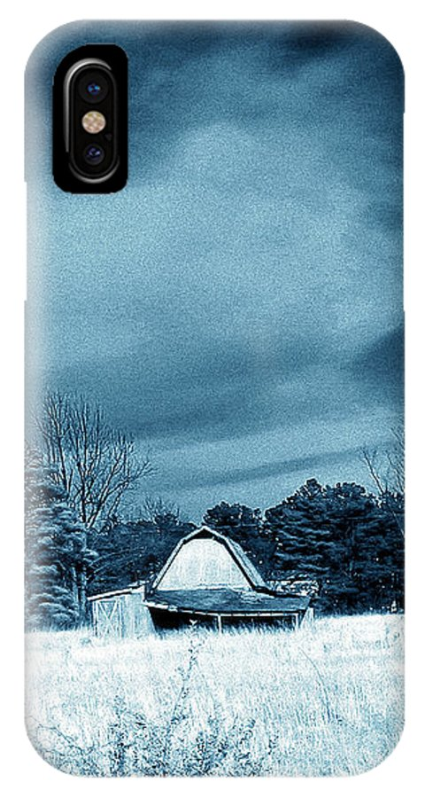 Blue IPhone X Case featuring the photograph Lonely Barn by Nina Fosdick
