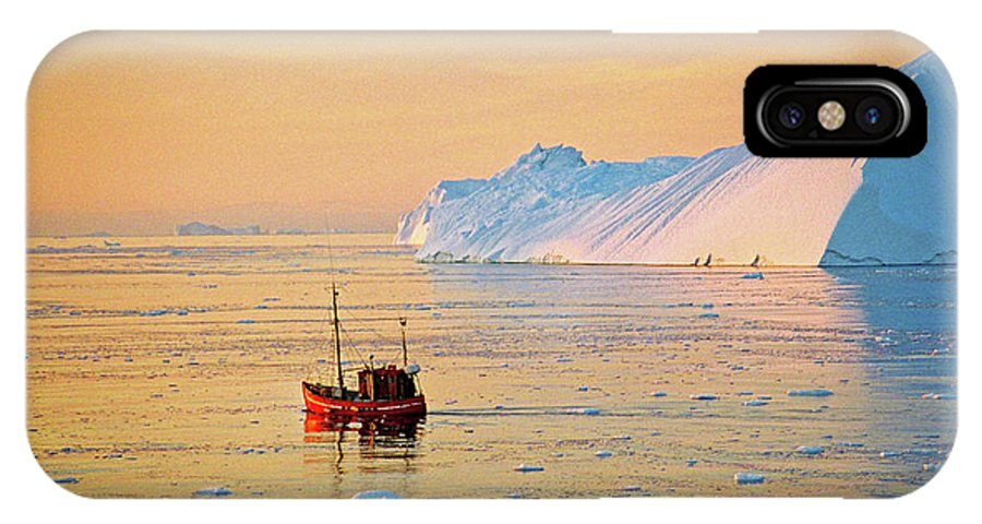 Greenland IPhone X Case featuring the photograph Lonely Boat - Greenland by Juergen Weiss
