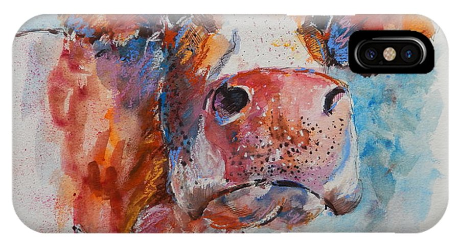 Cow IPhone X Case featuring the painting Lonely Cow by Louise Fletcher