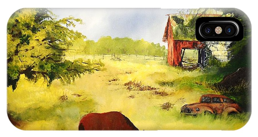 Farm IPhone X Case featuring the painting Long Abandoned by Tim Loughner