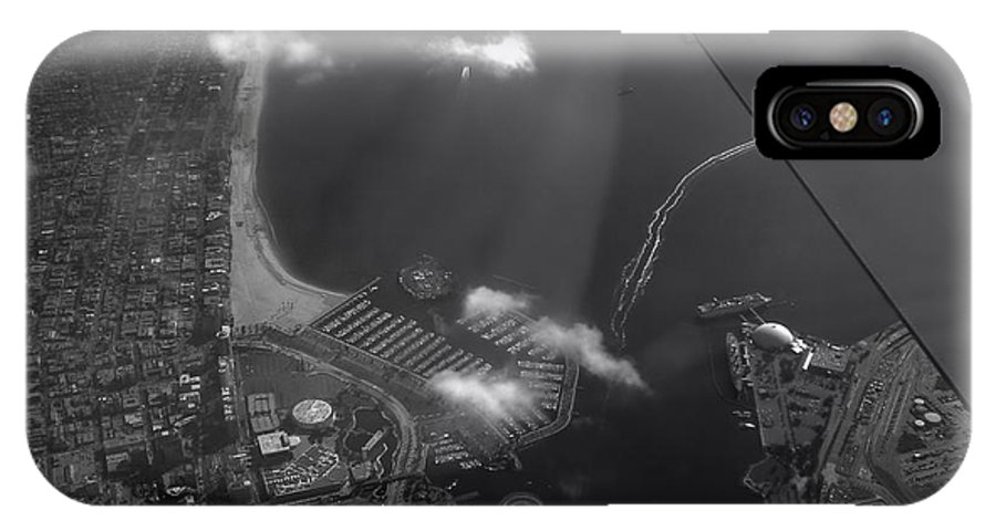 Longbeach IPhone X / XS Case featuring the photograph Long Beach Ca Aerial Bw by Thomas Woolworth