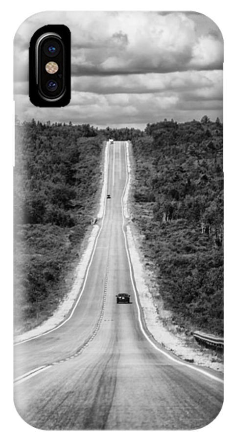 Nova Scotia IPhone X Case featuring the photograph Long Road Ahead 8923bw by Karen Celella