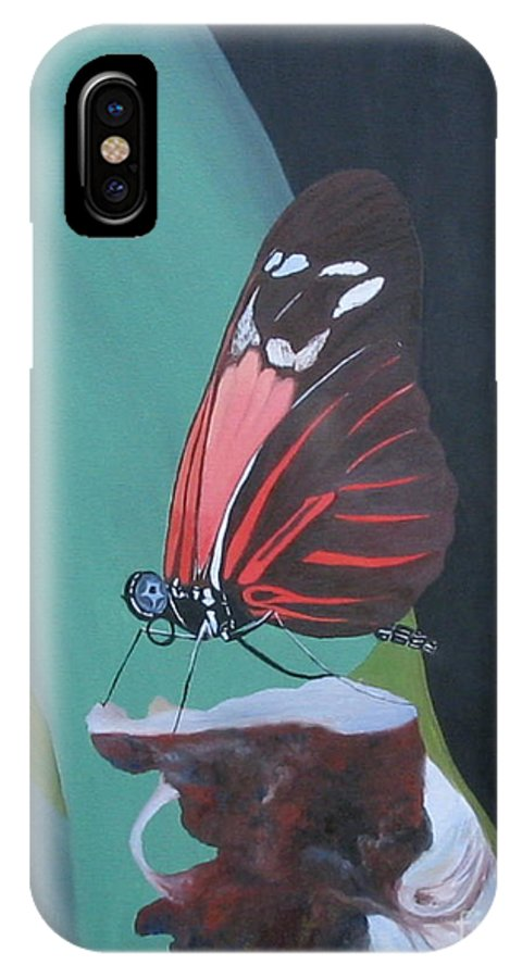 Butterfly IPhone X Case featuring the painting Long Wing Butterfly by Richard Dotson