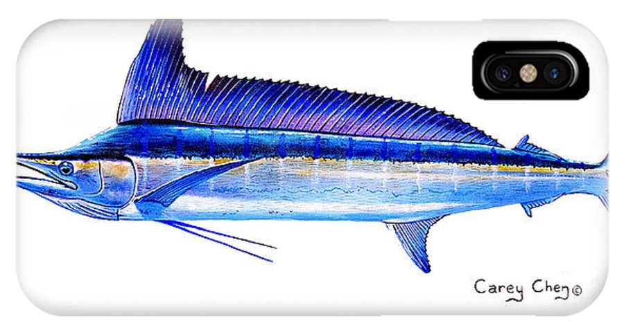 Spearfish IPhone X Case featuring the painting Longbill Spearfish by Carey Chen