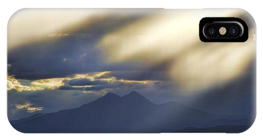 Longs Peak IPhone X Case featuring the photograph Longs Peak Through Smoke by Jon Burch Photography