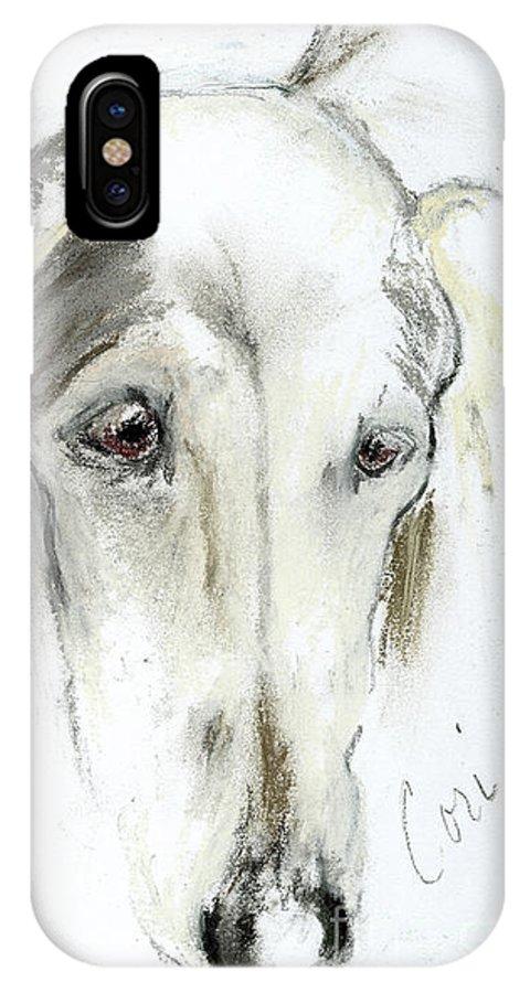 Saluki IPhone X Case featuring the drawing Loni by Cori Solomon