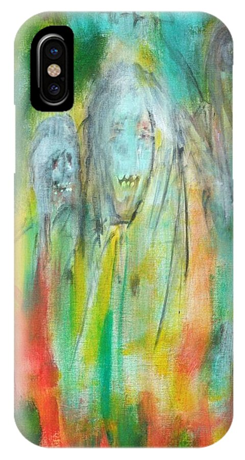 Ghosts IPhone X Case featuring the painting Look by Randall Ciotti