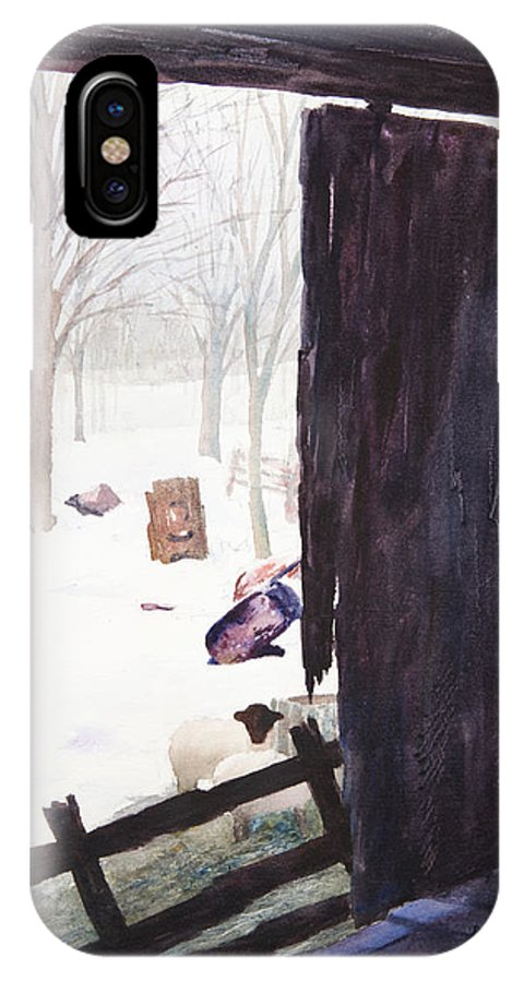 Landscape IPhone X Case featuring the painting Looking Out Looking In by Rachel Christine Nowicki