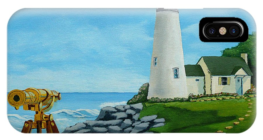 Lighthouse IPhone X Case featuring the painting Looking Out To Sea by Anthony Dunphy