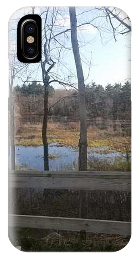 Trees IPhone X Case featuring the photograph Looking Thru The Trees by Wendy Hall
