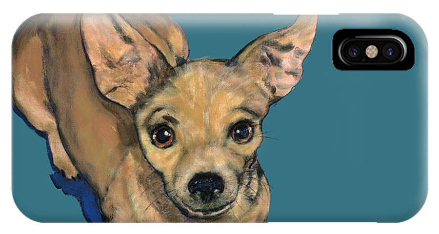 Chihuahua IPhone X Case featuring the painting Looking Up by Dale Moses