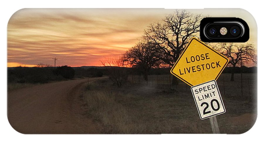 Texas IPhone X Case featuring the photograph Loose Livestock Sign by Tobias Duenzl