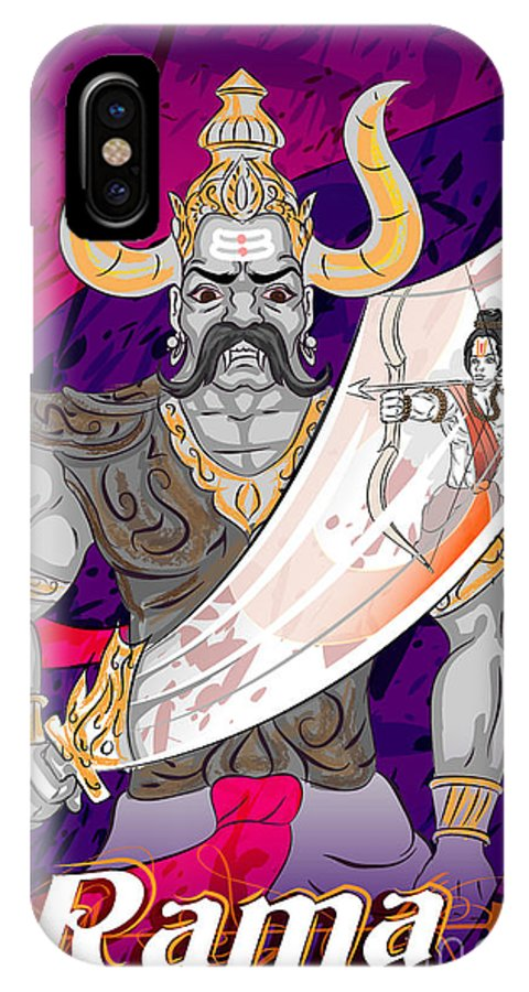 Mythological IPhone X Case featuring the digital art Lord Rama With Demon Ravana In Happy by Vecton