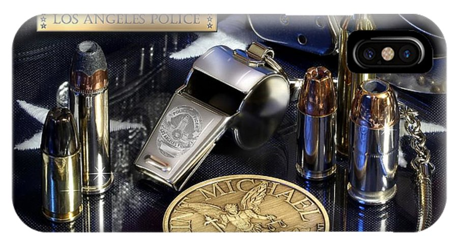 Los Angeles Police IPhone X Case featuring the photograph Los Angeles Police St Michael by Gary Yost