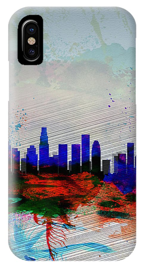 Los Angeles IPhone X / XS Case featuring the painting Los Angeles Watercolor Skyline 1 by Naxart Studio
