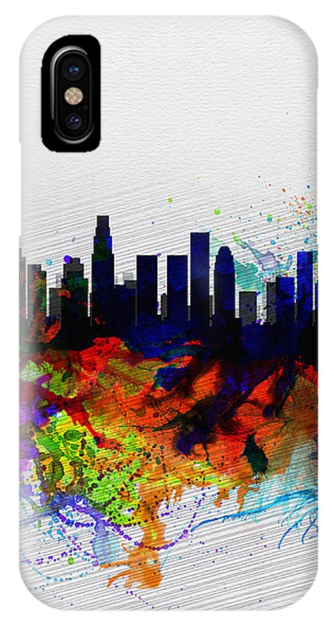 Los Angeles IPhone X / XS Case featuring the painting Los Angeles Watercolor Skyline 2 by Naxart Studio
