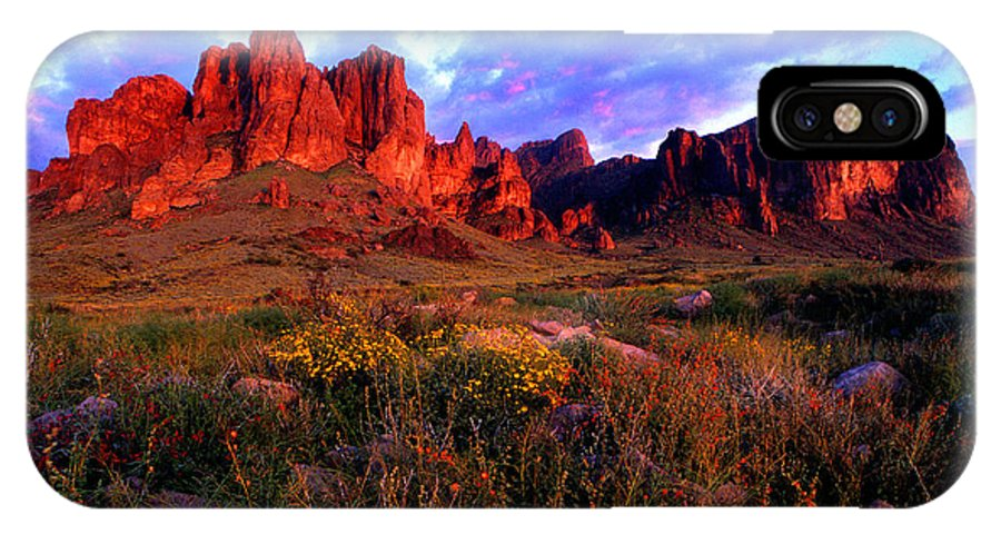Landscape Desert Arizona Superstitions Wilderness Tonto National Forest Apache Junction Arizona Phoenix Arizona Mesa Arizona Gilbert Arizona Spring Flowers Sunset Flat Iron Arizona Sunset Apache Trail Lost Dutchman Mine IPhone X Case featuring the photograph Lost Dutchmans State Park Arizona by Reed Rahn