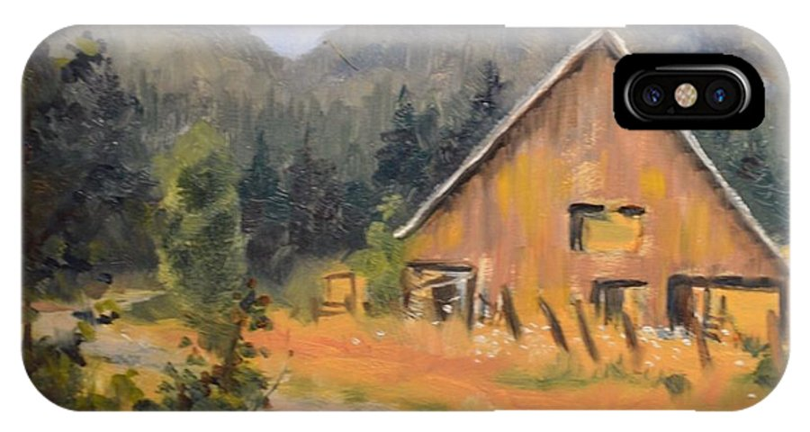 Barn IPhone X Case featuring the painting Lost Valley Barn by Gail Heffron