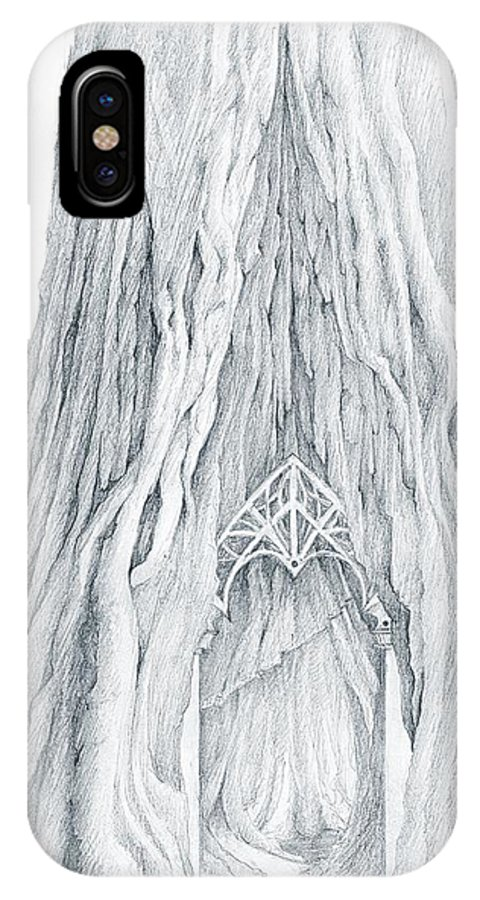 Lothlorien IPhone X Case featuring the drawing Lothlorien Mallorn Tree by Curtiss Shaffer