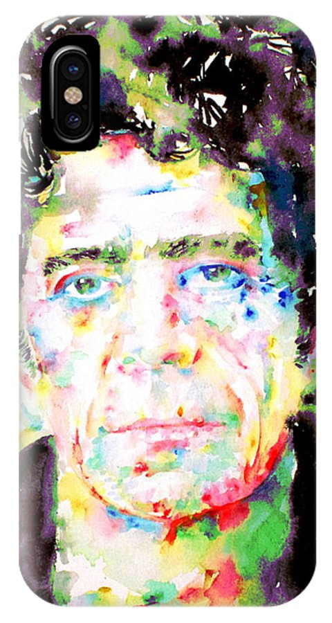 Lou Reed IPhone X Case featuring the painting Lou Reed Watercolor Portrait.1 by Fabrizio Cassetta