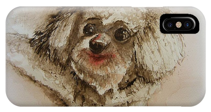 Dog IPhone X Case featuring the painting Louie by Elaine Duras