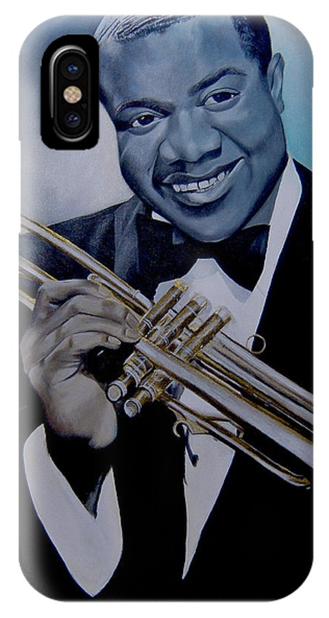 Jazz IPhone X Case featuring the painting Louis Armstrong by Chelle Brantley