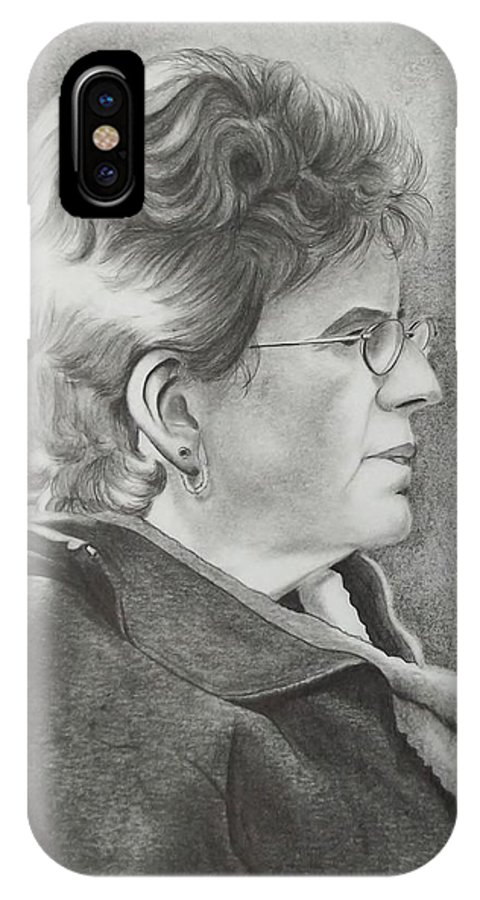 Profile IPhone X / XS Case featuring the drawing Louise by Lise PICHE