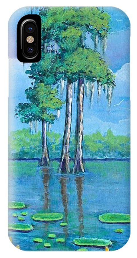 Louisiana IPhone X Case featuring the painting Louisiana Cypress by Suzanne Theis