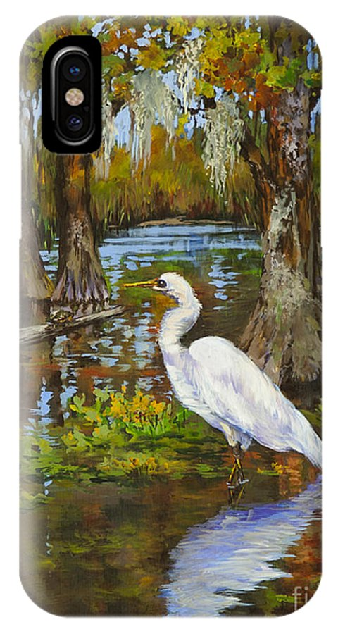 New Orleans Art IPhone X Case featuring the painting Louisiana Heron by Dianne Parks