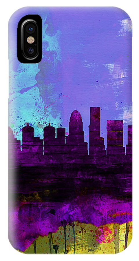 Louisville IPhone X Case featuring the painting Louisville Watercolor Skyline by Naxart Studio