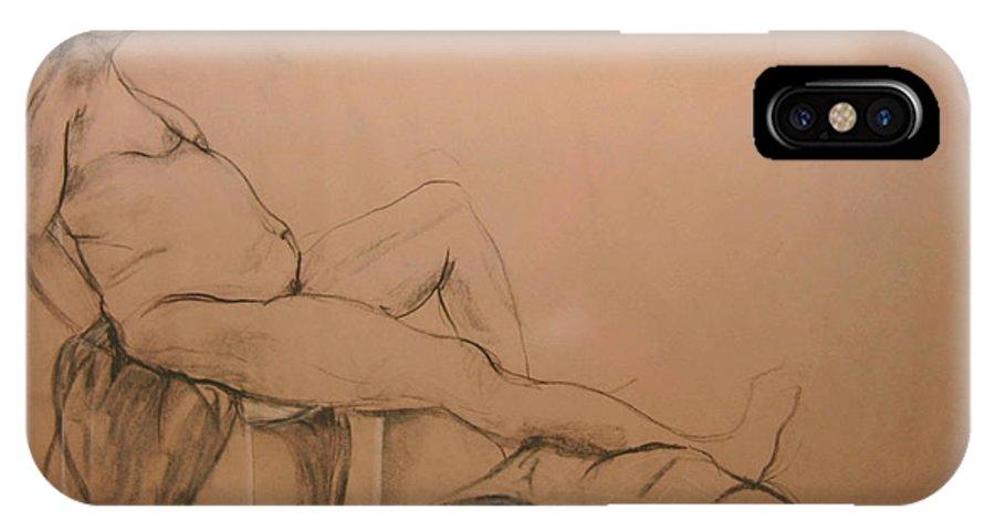 IPhone X Case featuring the digital art Lounging Nude by Gabrielle Schertz